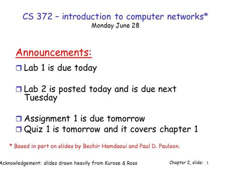 Chapter 2, slide: 1 CS 372 – introduction to computer networks* Monday June 28 Announcements: r Lab 1 is due today r Lab 2 is posted today and is due next.