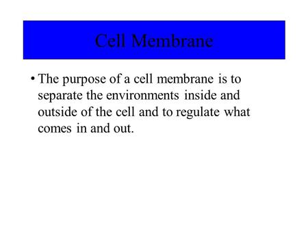 The purpose of a cell membrane is to separate the environments inside and outside of the cell and to regulate what comes in and out. Cell Membrane.