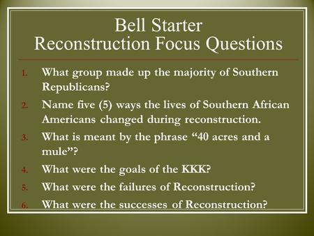 a discussion on the reconstruction period a success or failure