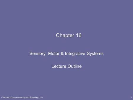 Principles of <strong>Human</strong> Anatomy and Physiology, 11e1 Chapter 16 Sensory, Motor & Integrative Systems Lecture Outline.