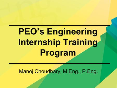 PEO's Engineering Internship Training Program