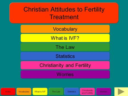 IndexVocabularyWhat is IVFThe LawStatistics Christianity and Fertility Worries Christian Attitudes to Fertility Treatment Vocabulary The Law What is IVF?
