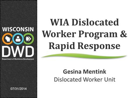 07/31/2014 WIA Dislocated Worker Program & Rapid Response Gesina Mentink Dislocated Worker Unit.