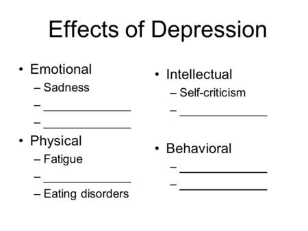 Effects of Depression Emotional –Sadness –_____________ Physical –Fatigue –_____________ –Eating disorders Intellectual –Self-criticism –_____________.