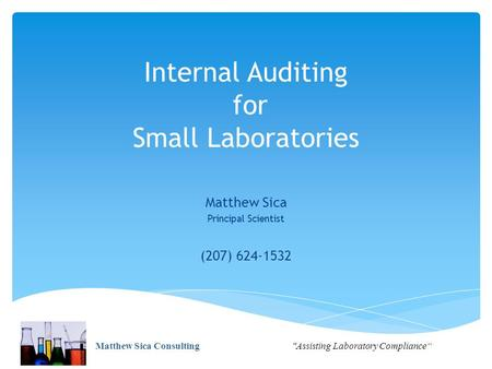 Internal Auditing for Small Laboratories