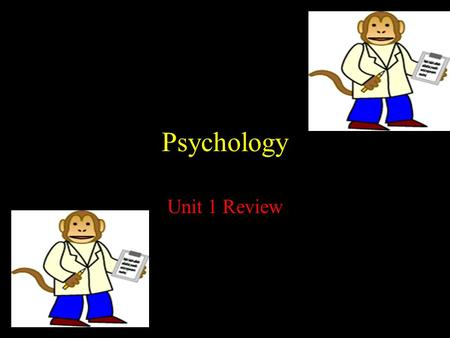Psychology Unit 1 Review. Psychology The scientific study of human thought processes and behavior.