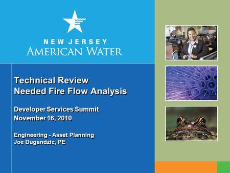 Technical Review Needed Fire Flow Analysis Developer Services Summit November 16, 2010 Engineering - Asset Planning Joe Dugandzic, PE.