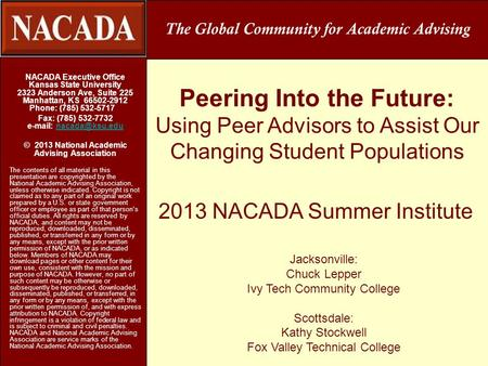 Peering Into the Future: Using Peer Advisors to Assist Our Changing Student Populations NACADA Executive Office Kansas State University 2323 Anderson Ave,