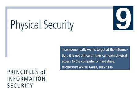 Principles of Information Security, 3rd Edition 2 Introduction  Physical security addresses design, implementation, and maintenance of countermeasures.