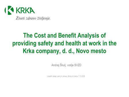 Andrej Škulj, vodja SVZD Uspešni delajo varno in zdravo, Brdo pri Kranju, 7.11.2008 The Cost and Benefit Analysis of providing safety and health at work.