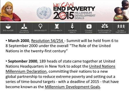 March 2000, Resolution 54/254 - Summit will be held from 6 to 8 September 2000 under the overall The Role of the United Nations in the twenty-first century""