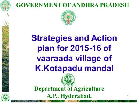 GOVERNMENT OF ANDHRA PRADESH 1 Department of Agriculture A.P., Hyderabad. Strategies and Action plan for 2015-16 of vaaraada village of K.Kotapadu mandal.