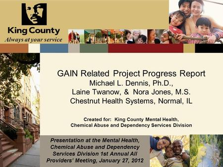 Always at your service GAIN Related Project Progress Report Michael L. Dennis, Ph.D., Laine Twanow, & Nora Jones, M.S. Chestnut Health Systems, Normal,