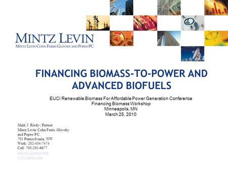 FINANCING BIOMASS-TO-<strong>POWER</strong> AND ADVANCED BIOFUELS. EUCI Renewable Biomass For Affordable <strong>Power</strong> Generation Conference Financing Biomass Workshop Minneapolis,