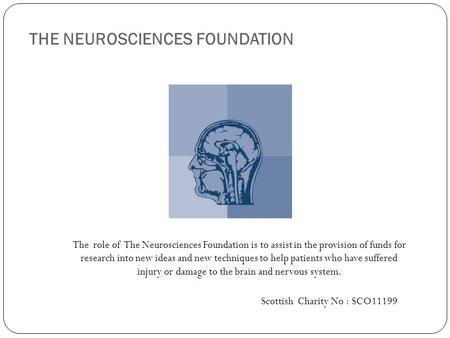 THE NEUROSCIENCES FOUNDATION The role of The Neurosciences Foundation is to assist in the provision of funds for research into new ideas and new techniques.