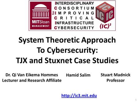 System Theoretic Approach To Cybersecurity: