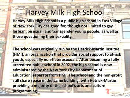 Essay Harvey Milk High School