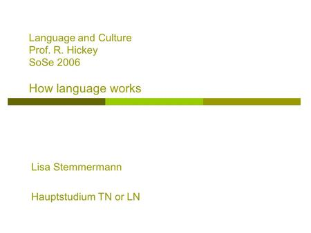 Language and Culture Prof. R. Hickey SoSe 2006 How language works
