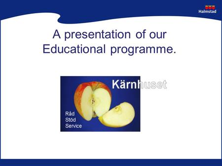 A presentation of our Educational programme.. Kärnhuset  Resource centre –advice, support, service –children 1-20 years  Daily programme –councelling,