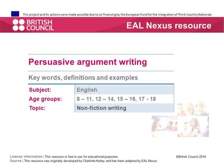 Persuasive argument writing