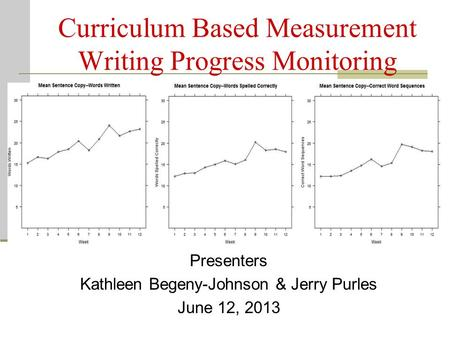 Curriculum Based Measurement Writing Progress Monitoring Presenters Kathleen Begeny-Johnson & Jerry Purles June 12, 2013.