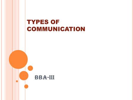 TYPES OF COMMUNICATION BBA-III. D EFINATION OF COMMUNICATION  Communication can be defined as the exchange of ideas, information and knowledge between.
