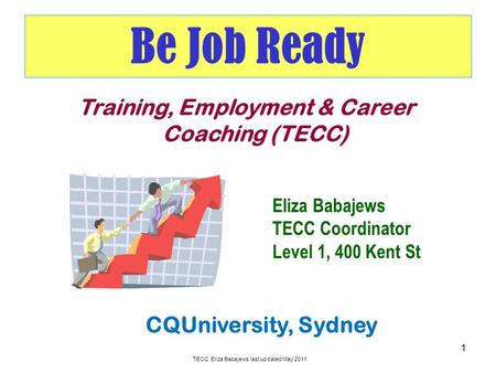 Be Job Ready 1 Training, Employment & Career Coaching (TECC) CQUniversity, Sydney Eliza Babajews TECC Coordinator Level 1, 400 Kent St TECC Eliza Babajews.