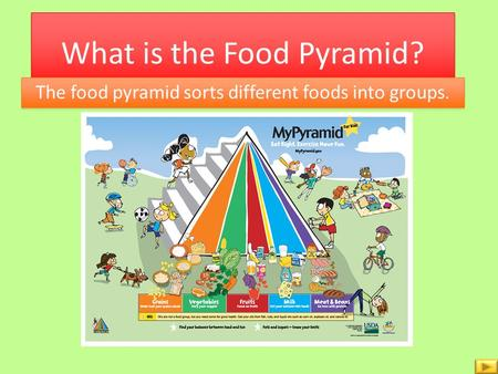 What is the Food Pyramid? The food pyramid sorts different foods into groups.