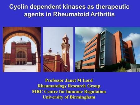 Cyclin dependent kinases as therapeutic agents in Rheumatoid Arthritis