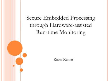 Secure Embedded Processing through Hardware-assisted Run-time Monitoring Zubin Kumar.