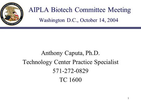 1 AIPLA Biotech Committee Meeting Washington D.C., October 14, 2004 Anthony Caputa, Ph.D. Technology Center Practice Specialist 571-272-0829 TC 1600.