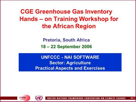 6D.1 1 UNFCCC - NAI SOFTWARE Sector: Agriculture Practical Aspects and Exercises CGE Greenhouse Gas Inventory Hands – on Training Workshop for the African.