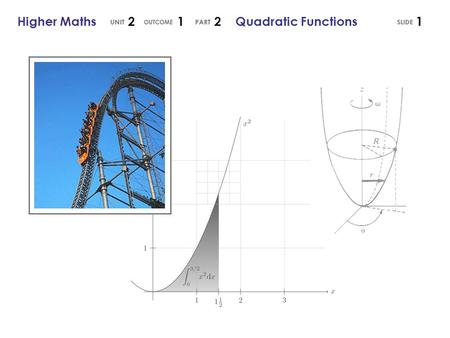 1Higher Maths 2 1 2 Quadratic Functions. Any function containing an term is called a Quadratic Function. The Graph of a Quadratic Function 2Higher Maths.