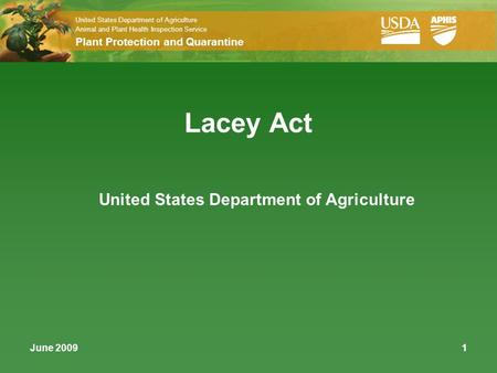 United States Department of Agriculture Animal and Plant Health Inspection Service Plant Protection and Quarantine June 20091 Lacey Act United States Department.