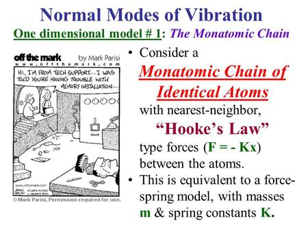 Consider a Monatomic Chain of Identical Atoms with nearest-neighbor,