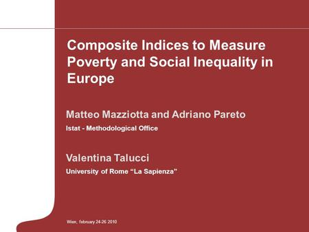 Composite Indices to Measure Poverty and Social Inequality in Europe