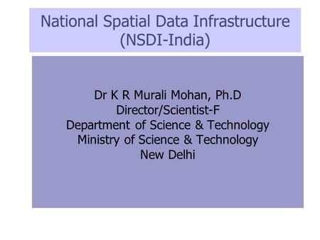 National Spatial Data Infrastructure (NSDI-India)