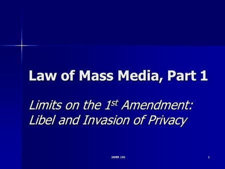 JAMM 1001 Law of Mass Media, Part 1 Limits on the 1 st Amendment: Libel and Invasion of Privacy.