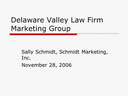 Delaware Valley Law Firm Marketing Group Sally Schmidt, Schmidt Marketing, Inc. November 28, 2006.