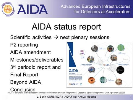AIDA is co-funded by the European Commission within the Framework Programme 7 Capacities Specific Programme, Grant Agreement 262025 AIDA status report.