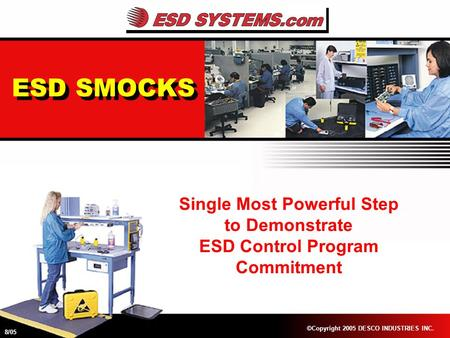 ESD SMOCKS Single Most Powerful Step to Demonstrate ESD Control Program Commitment ©Copyright 2005 DESCO INDUSTRIES INC. 8/05.