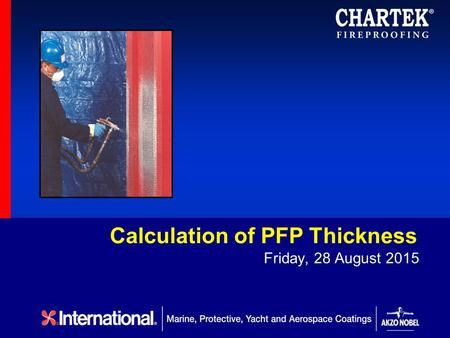 Calculation of PFP Thickness Friday, 28 August 2015.