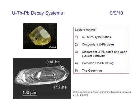 U-Th-Pb Decay Systems9/9/10 Lecture outline: 1)U-Th-Pb systematics 2)Concordant U-Pb dates 3)Discordant U-Pb dates and open system behavior 4)Common Pb-Pb.