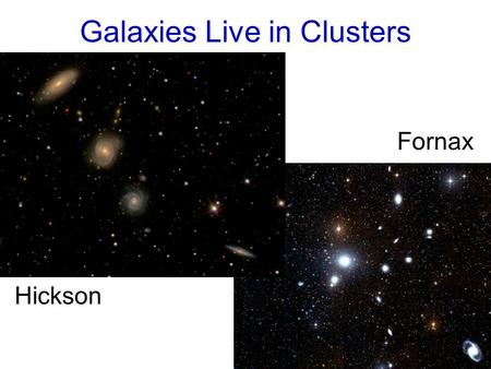 Galaxies Live in Clusters Hickson Fornax. Coma Virgo.