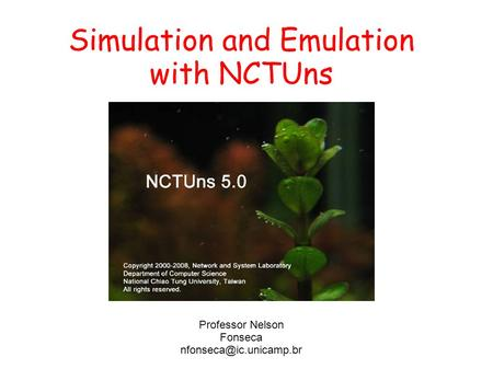 Simulation and Emulation with NCTUns Professor Nelson Fonseca