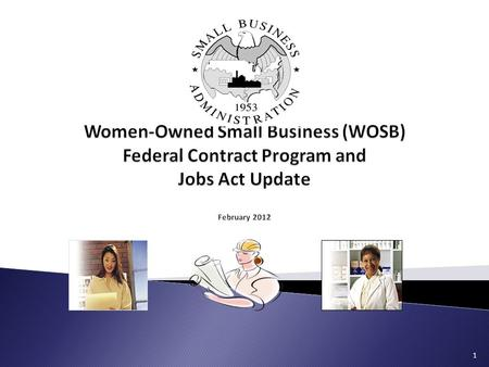 1.  Overview of the WOSB program  Eligibility requirements  Certification and Repository  Reviews & Protests  Resources and Q&A  Jobs Act Update.