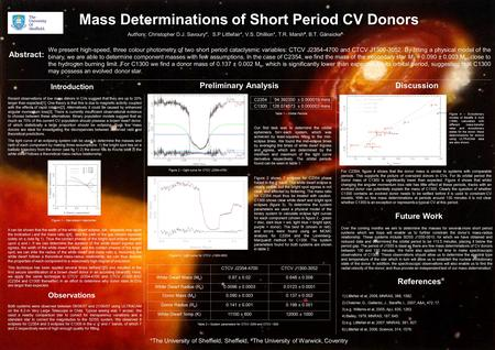 Mass Determinations of Short Period CV Donors Authors: Christopher D.J. Savoury*, S.P Littlefair*, V.S. Dhillion*, T.R. Marsh #, B.T. Gänsicke #, *The.