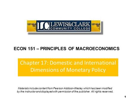 Chapter 17: Domestic and International Dimensions of Monetary Policy