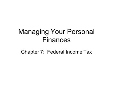 Managing Your Personal Finances