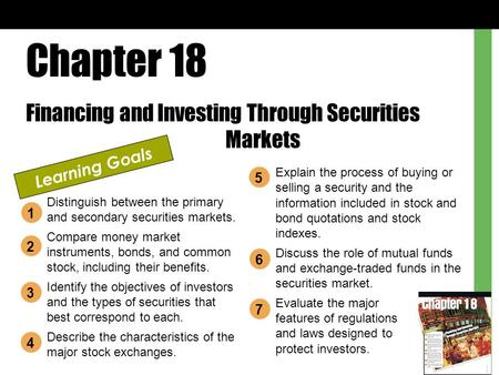 Chapter 18 Financing and Investing Through Securities Markets Learning Goals Distinguish between the primary and secondary securities markets. Compare.
